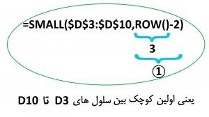 ترکیب تابع small و row در اکسل